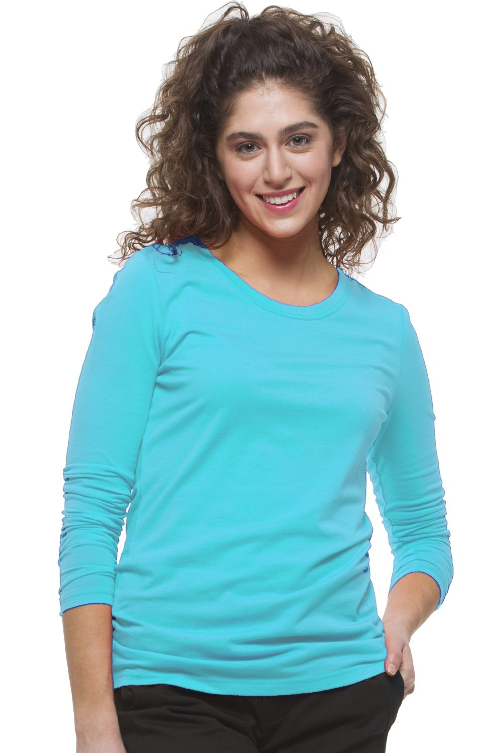 Healing Hands Scrubs Melissa 5047 Knit Long Sleeve Underscrub Tee Shirt- Turquoise- 2XL by Healing Hands