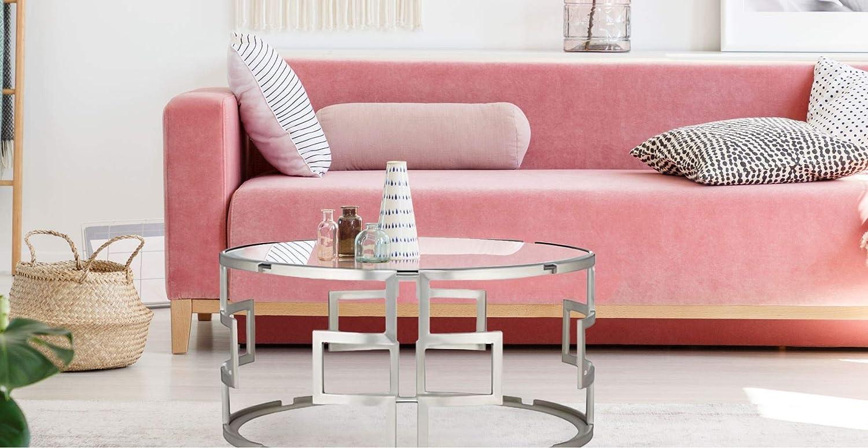 Tables Basses Cuisine Maison Table De Canape Table De Salon Sejour Pour Votre Decoration Interieure Table Basse Ronde Avec Plateau En Verre Et Base Argente