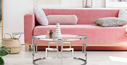 Verje Round Glass Coffee Table For Living Room Furniture Aesthetic