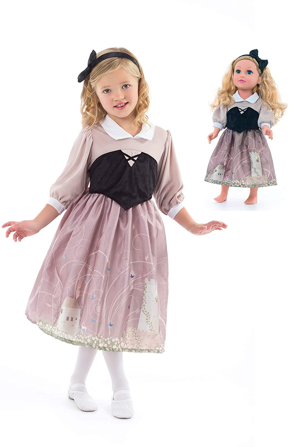 Little Adventures Sleeping Beauty Princess Day Dress Up Costume with Hairbow /& Matching Doll Dress Age 1-3 Small