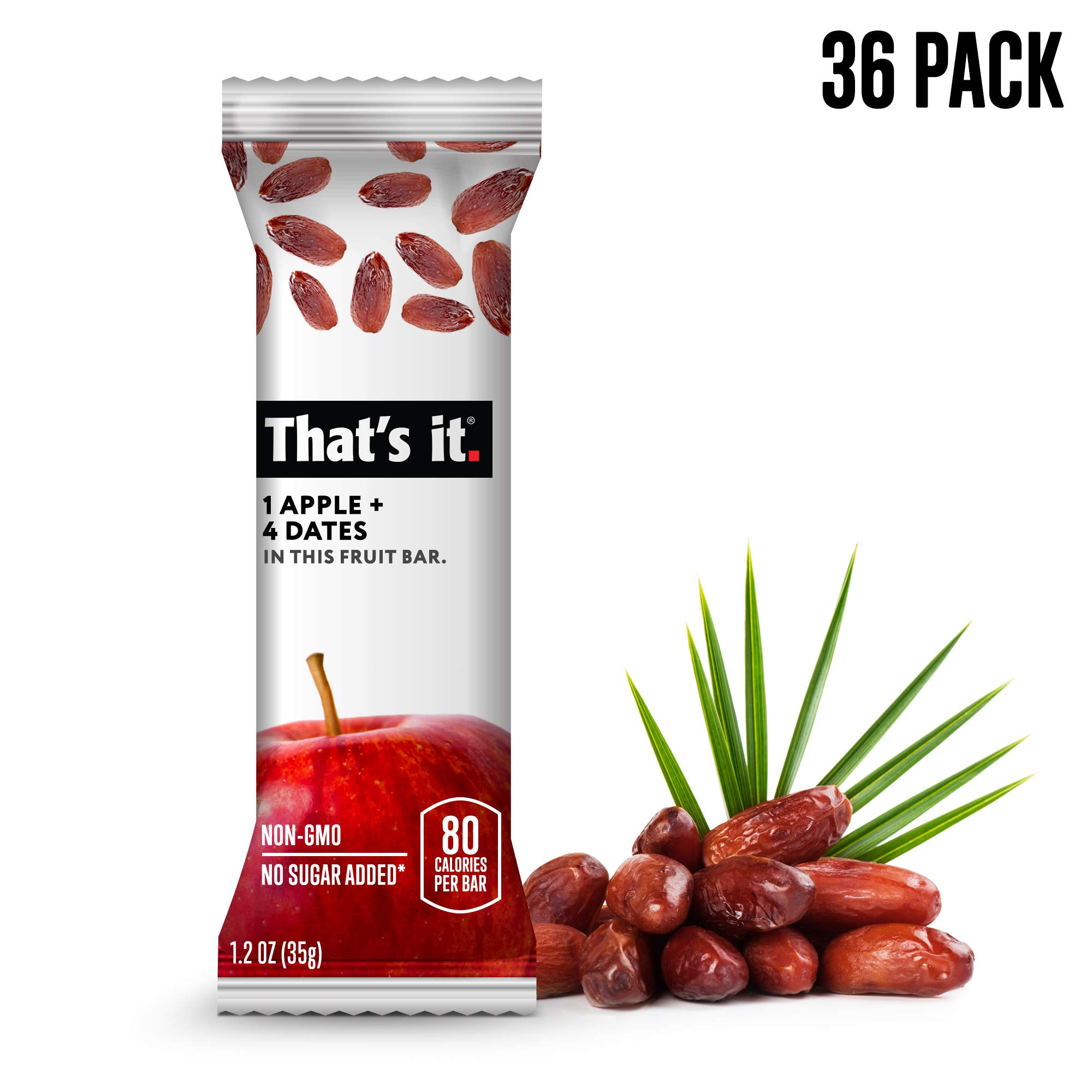 That's it. Apple + Date Fruit Bars 100% All Natural, No Artificial Ingredients or Preservatives Delicious Healthy Snack for Children & Adults, Vegan, Gluten Free, Paleo, Kosher, Non GMO (36 Pack)