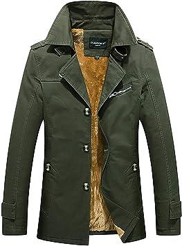メンズコート・ジャケット-メンズジャケットミドル丈プラスベルベット厚綿ウインドブレーカージャケット
