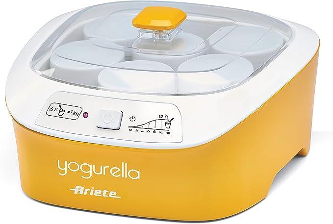 Ariete 626 626-Yogurtera, capacidad de 1 litro, 6 tarros, luz indicador, blanco y amarillo, 20 W, 1 Liter: Amazon.es: Hogar