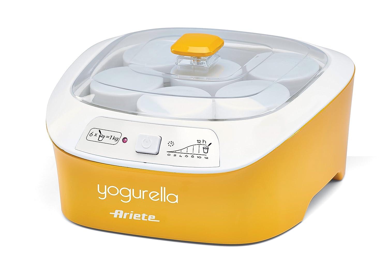 Ariete 626 Yogurella - Yogurtiera elettrica con 6 vasetti in vetro, Capacità totale 1kg di yogurt, 20W, Bianco/Giallo [Classe di efficienza energetica A]