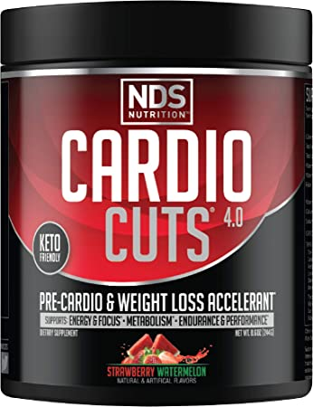 NDS Nutrition Cardio Cuts 4.0 Pre Workout Supplement - Advanced Weight Loss and Pre Cardio Formula with L-Carnitine, CLA, MCTs, L-Glutamine, and Safflower Oil - Strawberry Watermelon (40 Servings)