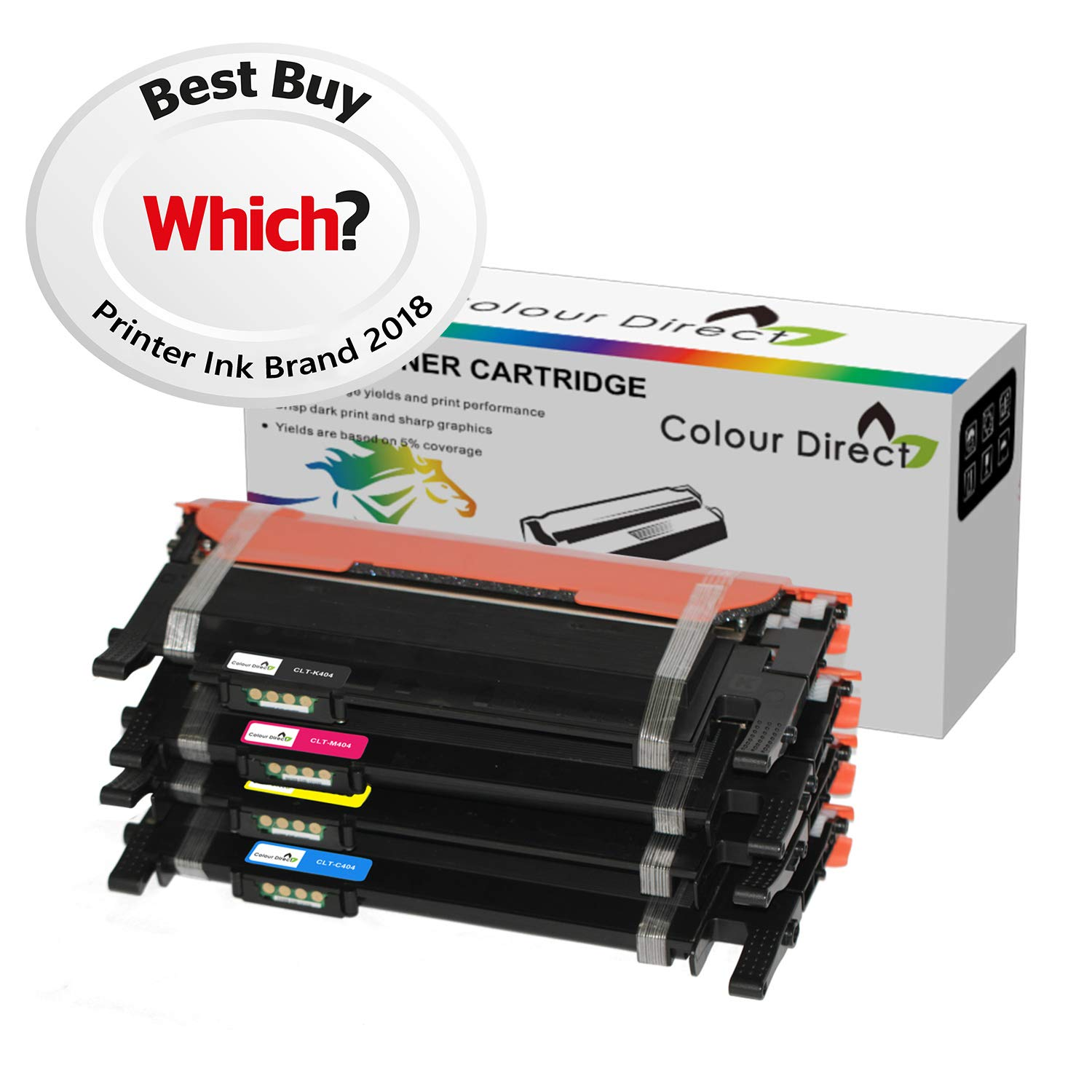 6-Pack Compatible CLT-404S Laser Printer Cartridge High Yield Use for Samsung SL-C433//SL-C433W//SL-C483W//SL-C483FW Printer Black