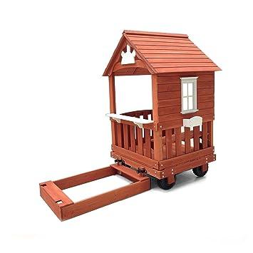 wood playhouse with sandbox