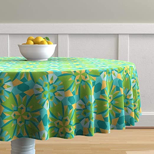 Amazon Com Roostery Round Tablecloth Tropical Abstract