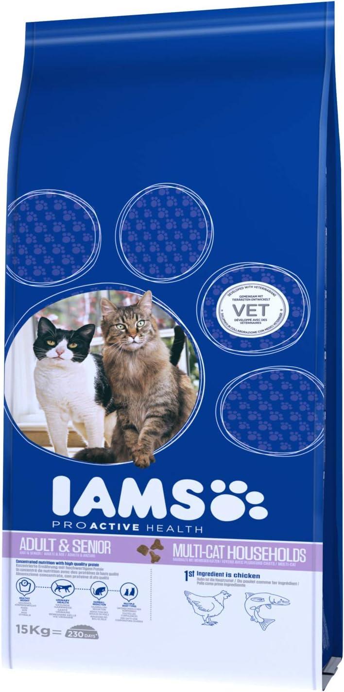 IAMS ProActive Health Adulto Edad avanzada y Anciano para hogares con más de un gato, con Salmón y pollo [15 Kg]