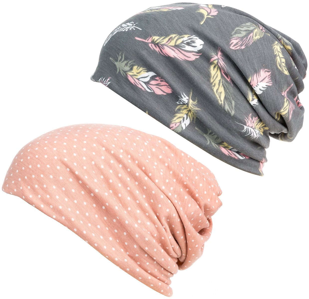 DancMolly Print Flower Head Cap Cancer Hats Beanie Stretch Casual Turbans for Women (Pink+Gray)