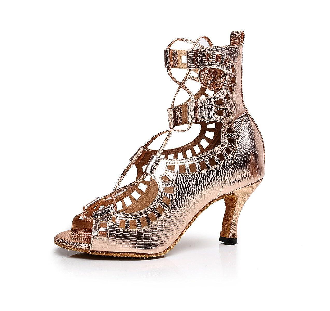 JSHOE 19997 Chaussures De De Sandales Danse Salsa Latine PU/Tango/Thé/Samba/Moderne/Chaussures De Jazz Sandales Talons Hauts,Gold-heeled6cm-UK6.5/EU40/Our41 - bd4a14a - shopssong.space
