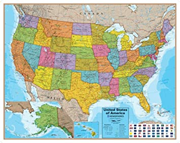 Map Of Usa And Oceans Amazon.: Hemispheres Blue Ocean USA Wall Map, Laminated