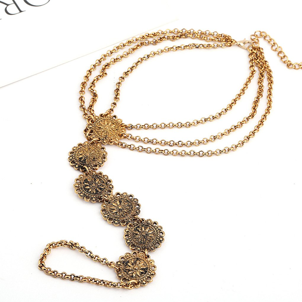 Tgirls 2Pcs Boho Vintage Exaggeration Anklet Bracelet Beach Foot Ankle Accessories Jewelry for Women and Girls