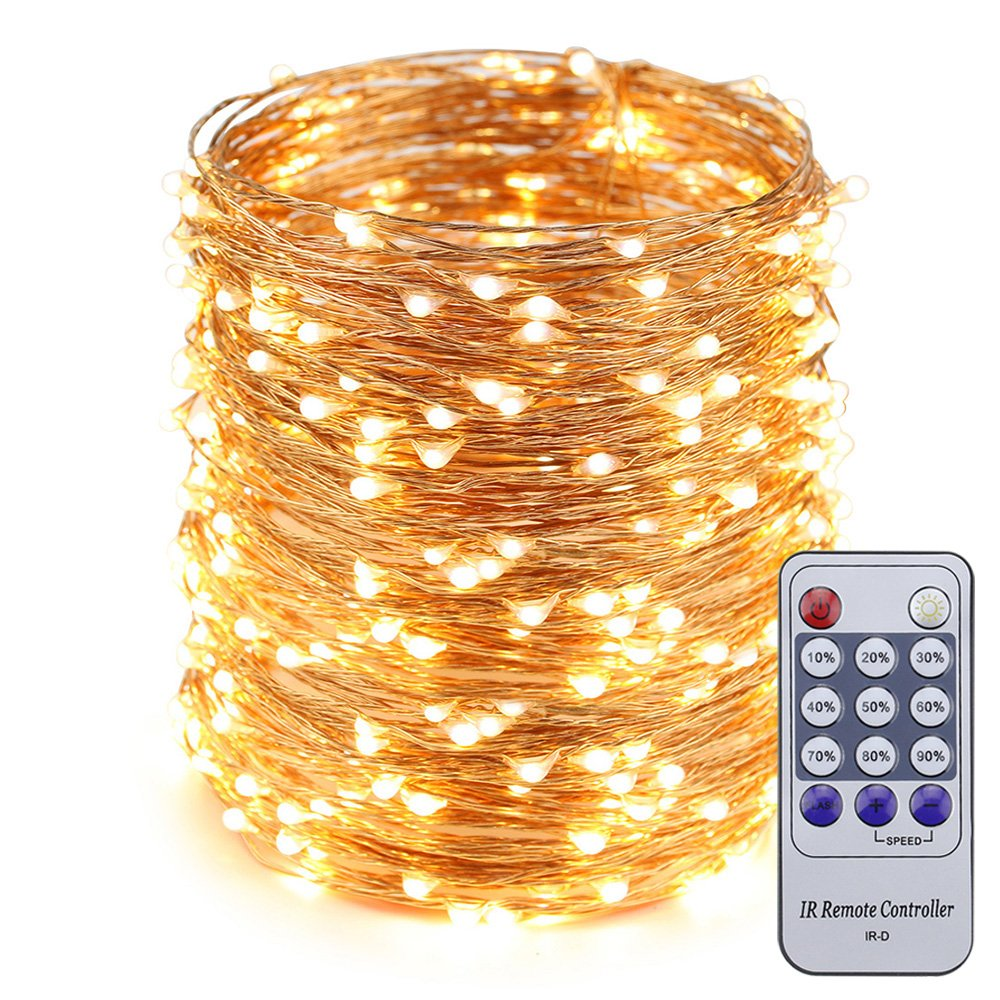 ER CHEN(TM) 165ft Led String Lights,500 Led Starry Lights on 50M Copper Wire String Lights + 12V DC Power Adapter + Remote Control(Warm White)