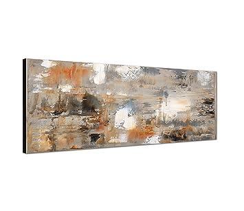 Wandbild auf Leinwand (Leinwandbild) als Panorama in 120x40 cm abstrakte  Kunst-Malerei braun grau abstrakt in tollen Farben und immer ein Hinkucker !