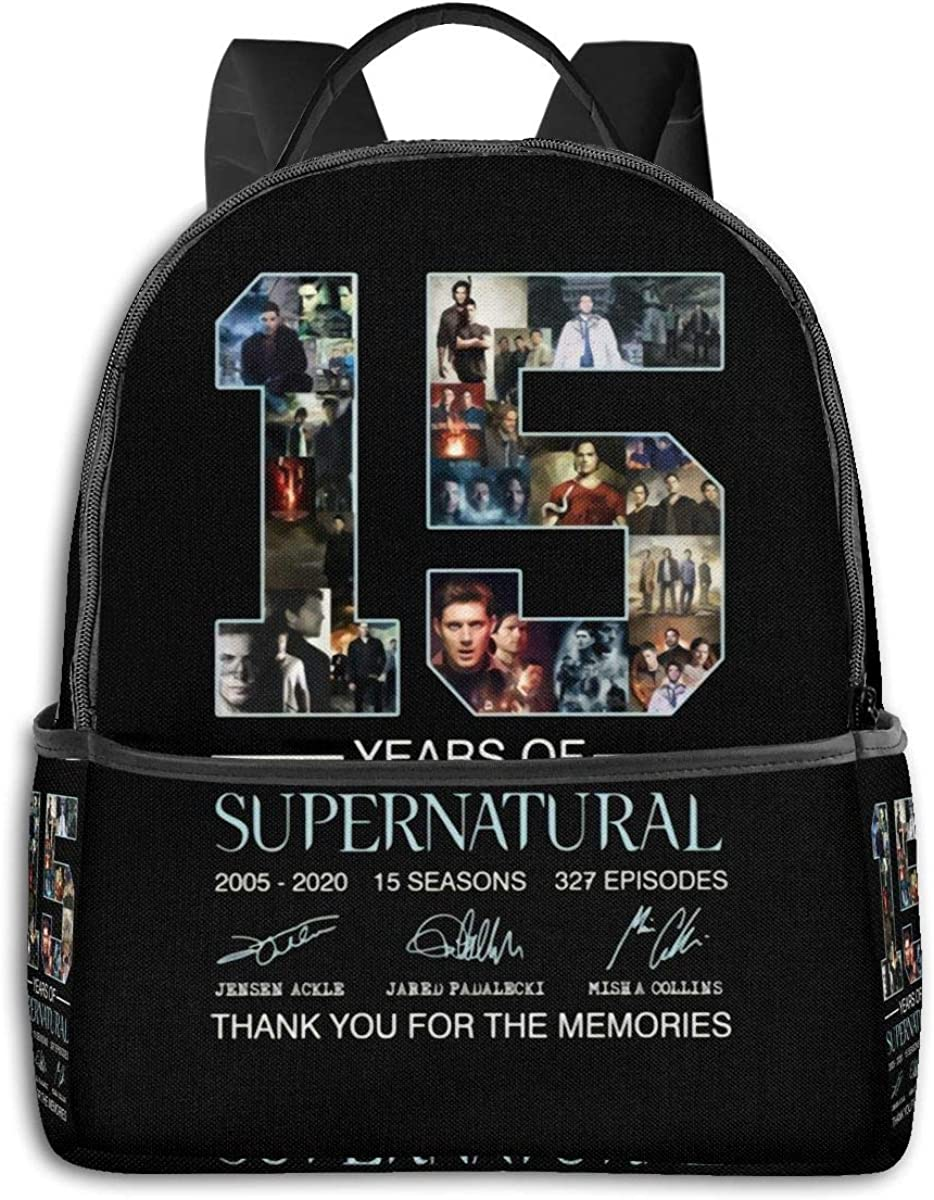Backpack 15 Years of Supernatural Anniversary Souvenir Laptop Backpack Fashion Theme School Backpack