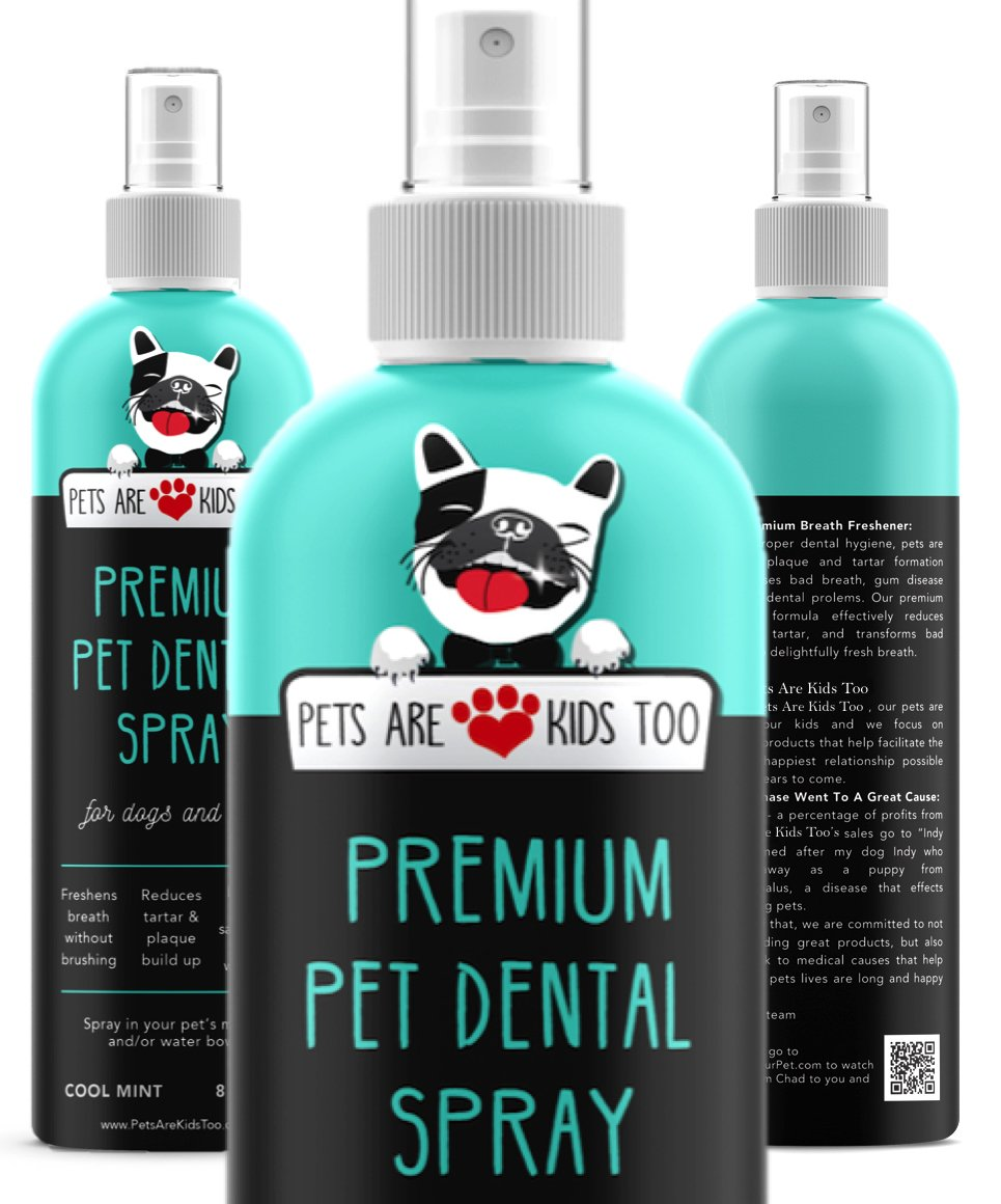 Premium Pet Dental Spray (Large - 8oz): Best Way To Eliminate Bad Dog Breath & Bad Cat Breath! Naturally Fights Plaque, Tartar & Gum Disease Without Brushing! Add to Water! Digestive Aid!