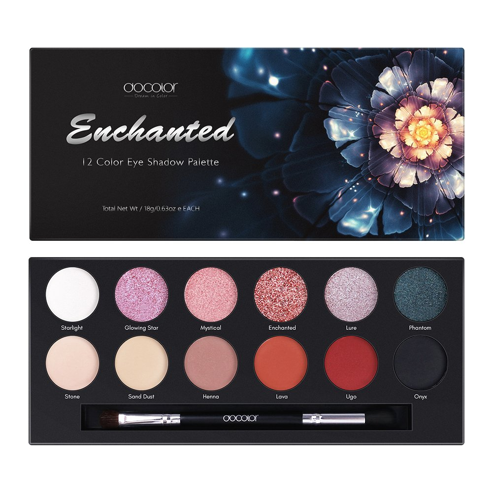 Docolor Eyeshadow Palette 12 Colors Eye Shadow Matte Glitter Waterproof Pigmented Makeup Palette