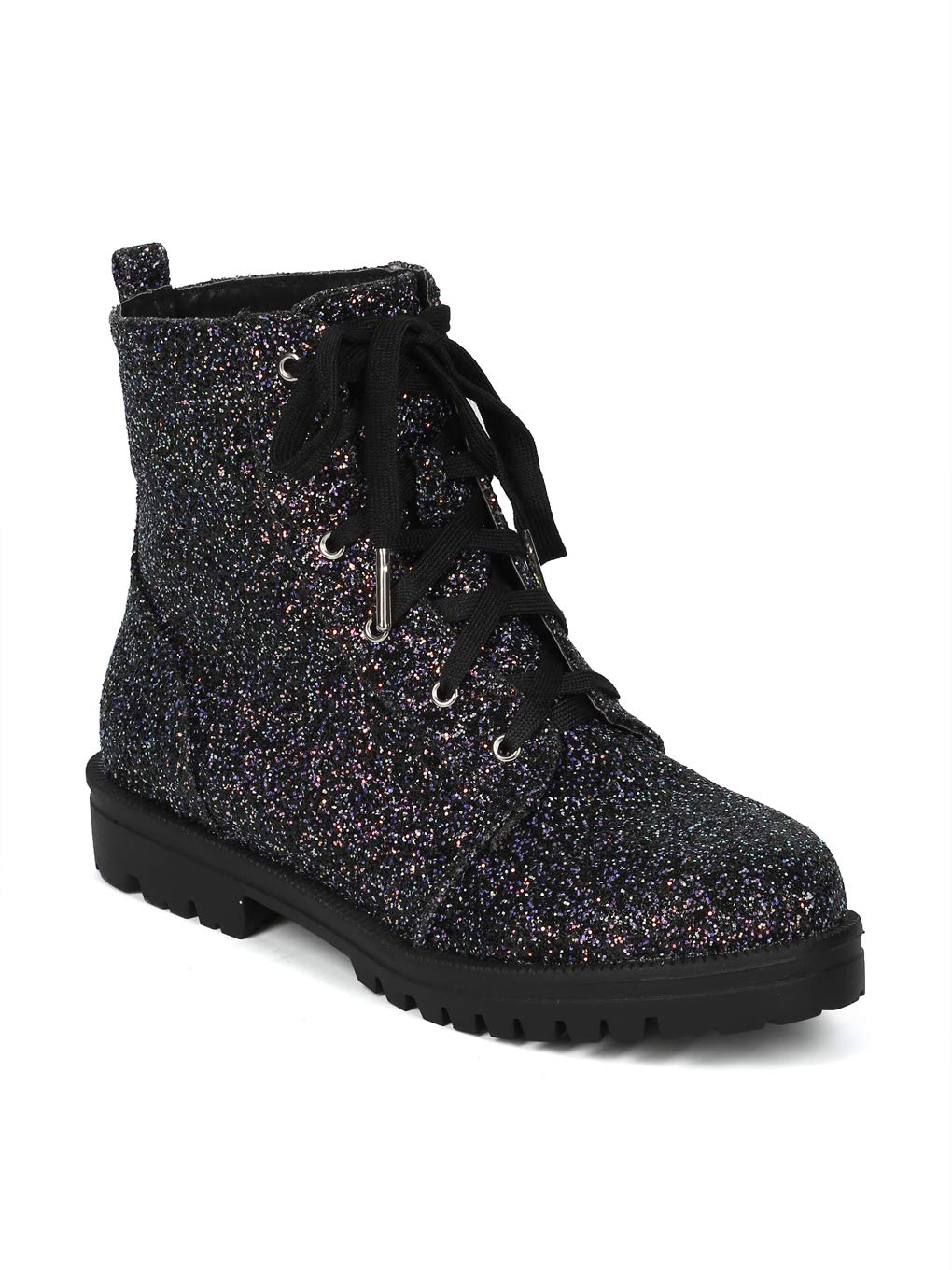 Alrisco Women Glitter Encrusted Lace Up Combat Bootie - IA26 by Cape Robbin Collection - Black (Size: 11)