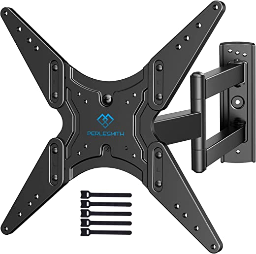 PERLESMITH TV Wall Mount for Most 26-55 Inch Flat Curved TVs with Swivels, Tilts & Extends 19.5 Inch – Wall Mount TV Bracket VESA 400×400 Fits LED,…