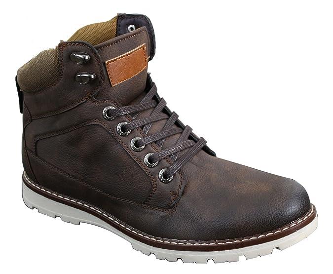 Herrenschuhe Leder Braun Schwarz Kamel Futter Boots Design Hiking Wandern Schuhe Winter m44aa0