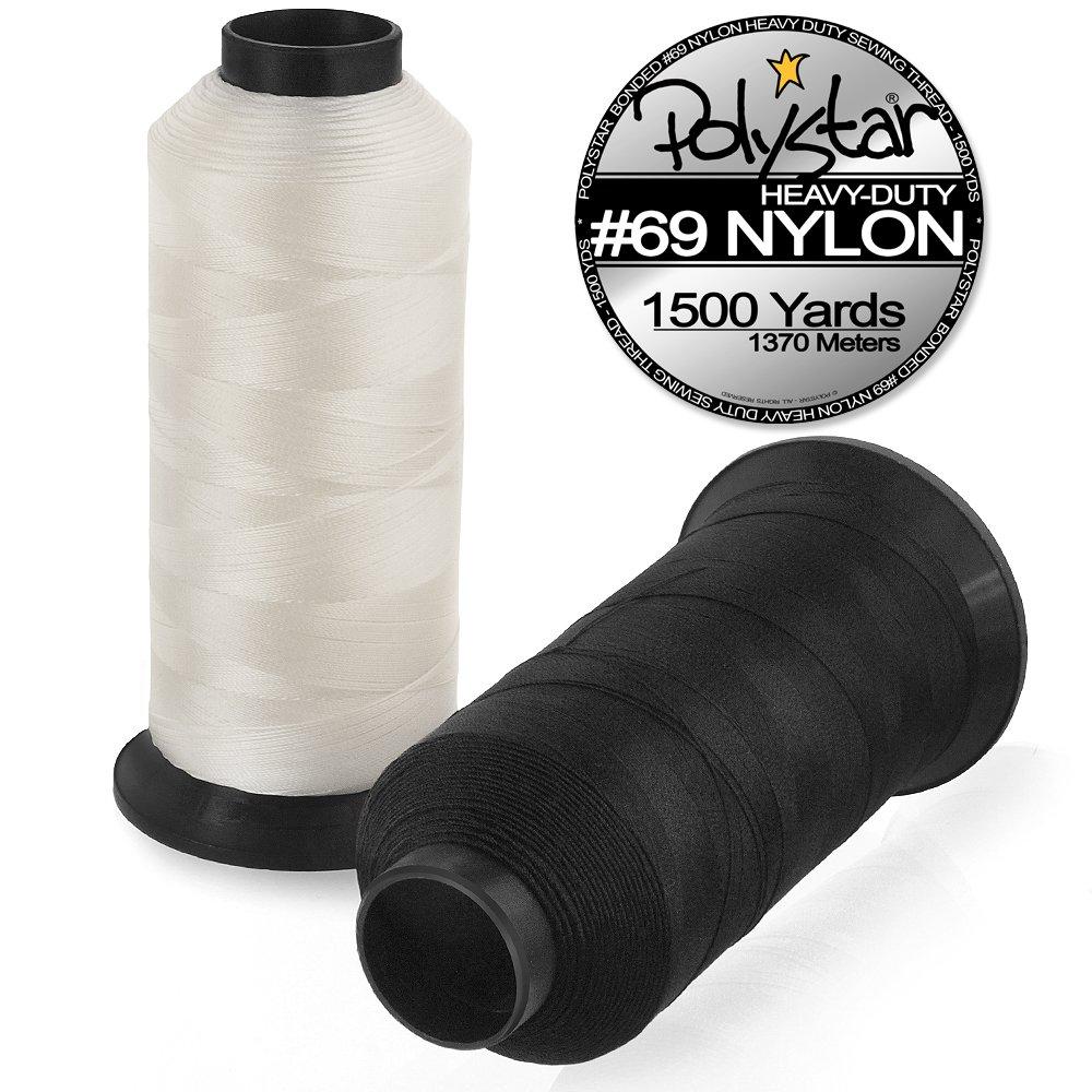 1500 Yard Spool Polystar Heavy-Duty #69 Bonded Nylon Sewing Thread Black