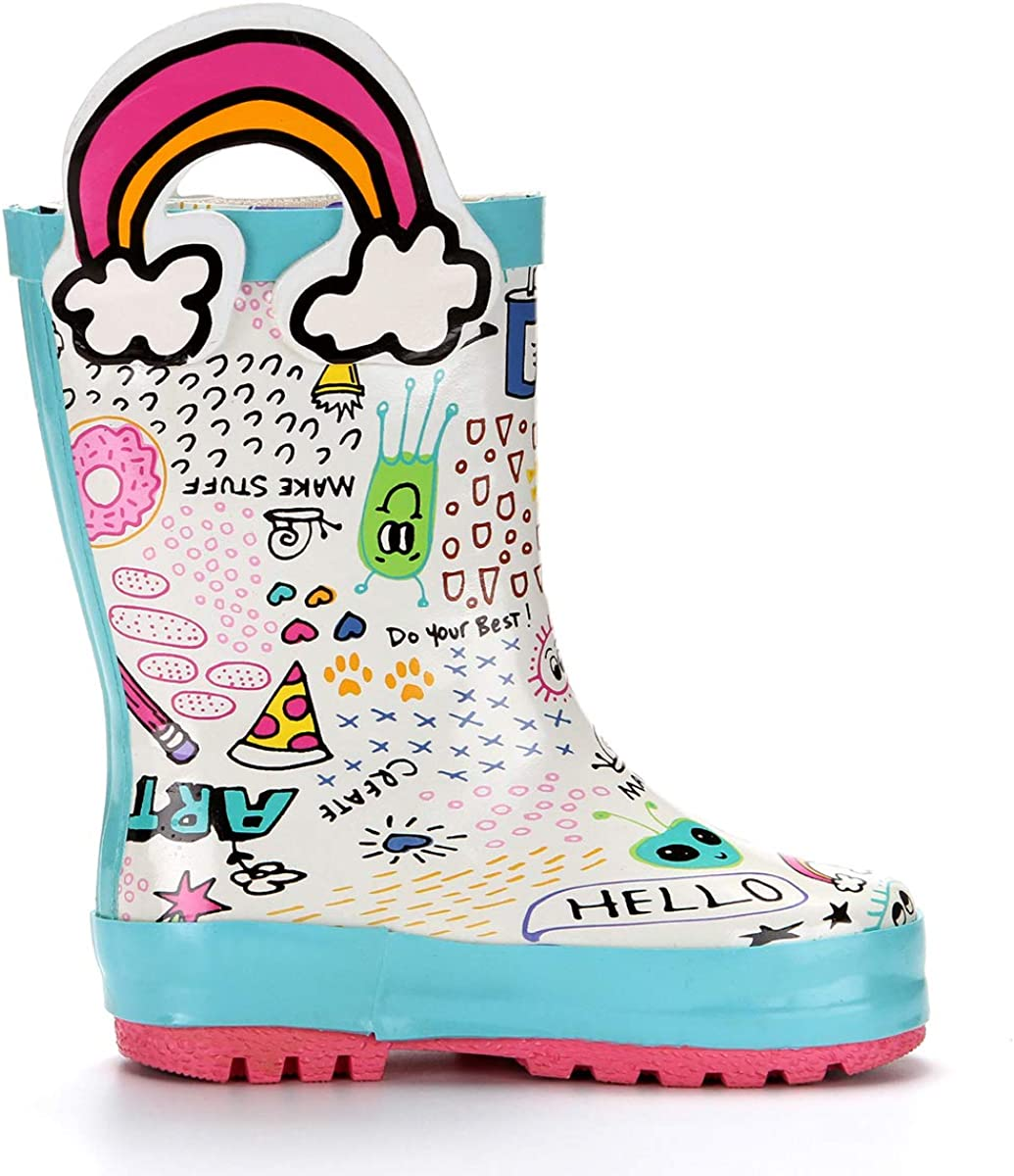 VAMV Printed Kids Toddler Rain Boots for Girls and Boys