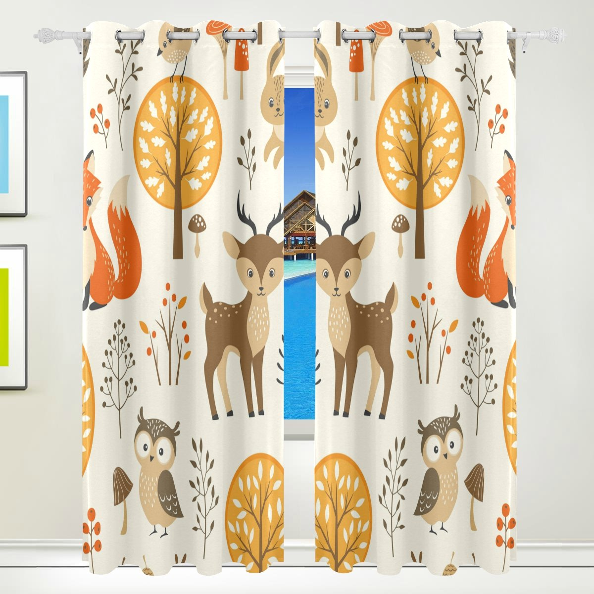 Vantaso Window Curtains 84 Inch Long Cute Animals Owls Fox Deer for Kids Girls Boys Bedroom Living Room Polyester 2 Pannels