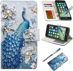 iPhone 7 Plus Case, iPhone 8 Plus Case, UrSpeedtekLive Wallet Case, Premium PU Leather Flip Case Cover with Card Slots & Kickstand for Apple iPhone 7 Plus (2016) / iPhone 8 Plus (2017)-Peacock