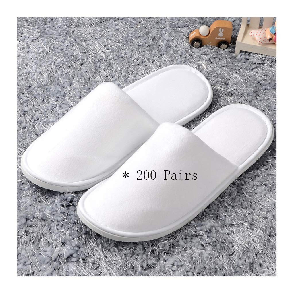 White 200 pairs Disposable Slippers,spa Slippers Unisex Spa Slippers One-time Men's 200 Pairs Slippers Men's Slippers Men's Hotel Foot Massage Slippers Women Non-thickly Thick Home Hospitality Guests