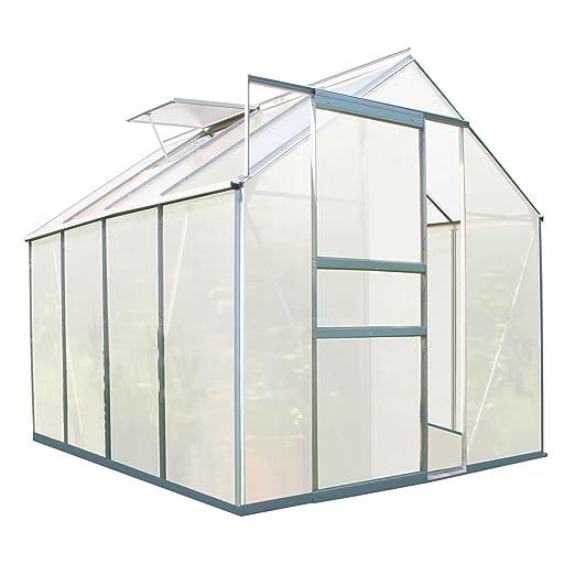 Zelsius - Aluminium Gewächshaus, Garten Treibhaus in verschiedenen Größen, mit Hohlkammerstegplatten, wahlweise mit Stahl-Fun