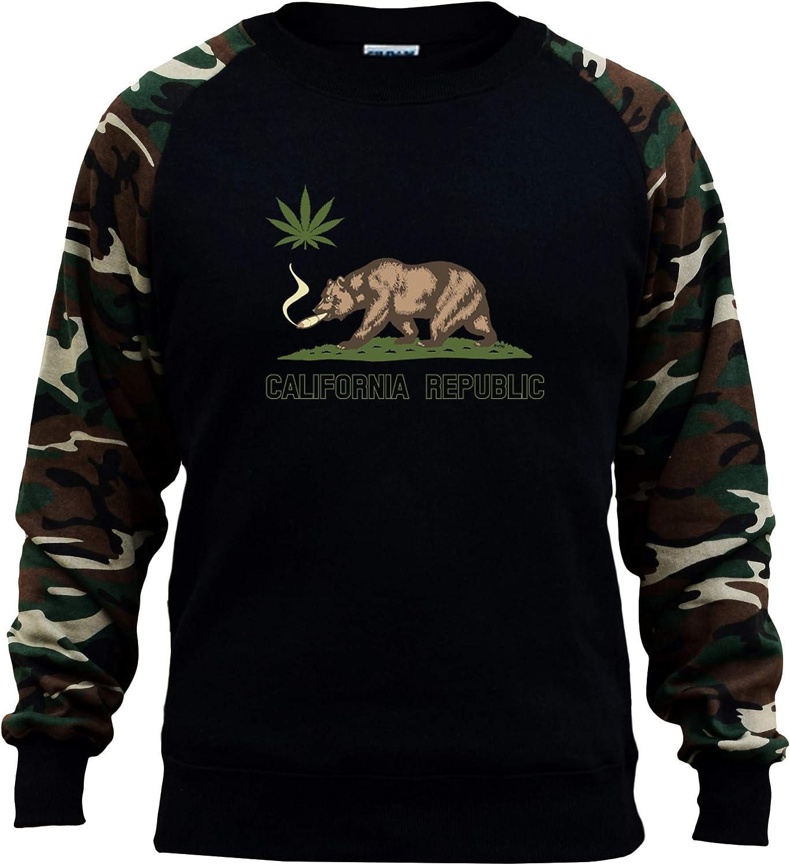 Koyotee Mens California Pot Bear Black//Camo Raglan Baseball Sweatshirt Black
