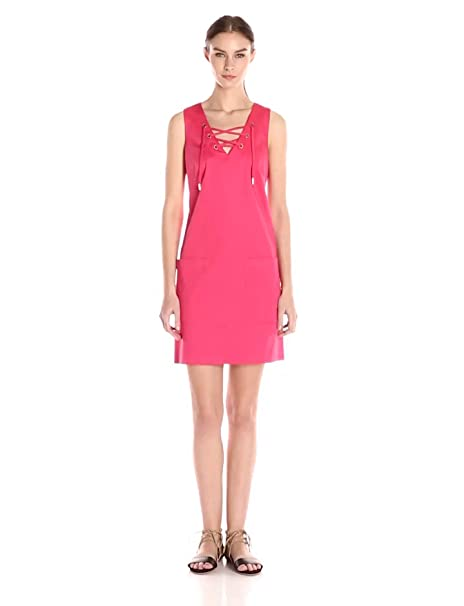 58b98ecd96f Calvin Klein Women s Flared Dress with Lace-Up Detail at Amazon ...