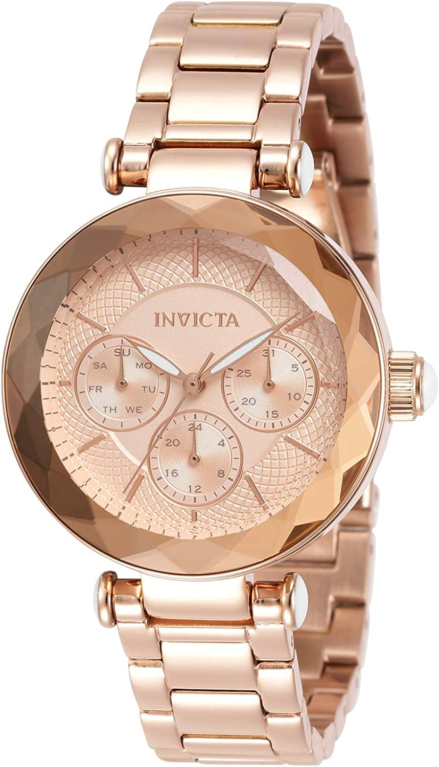Invicta Women's Angel Quartz Watch with Stainless Steel Strap, Rose Gold, 16 (Model: 31272)