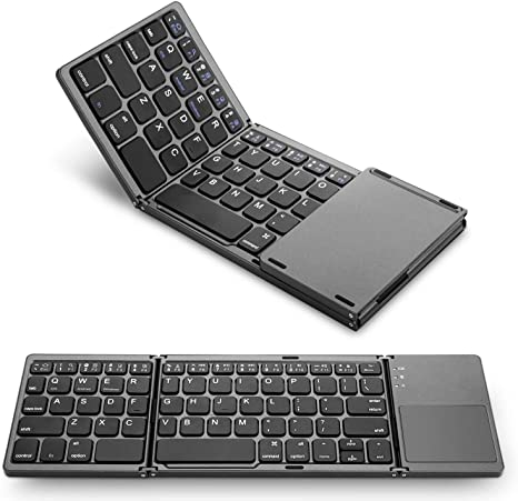 Sync Up to 3 Devices Foldable Wireless Keyboard for All iOS Android Smartphone Windows Laptop Tablet Office Mute Keyboard