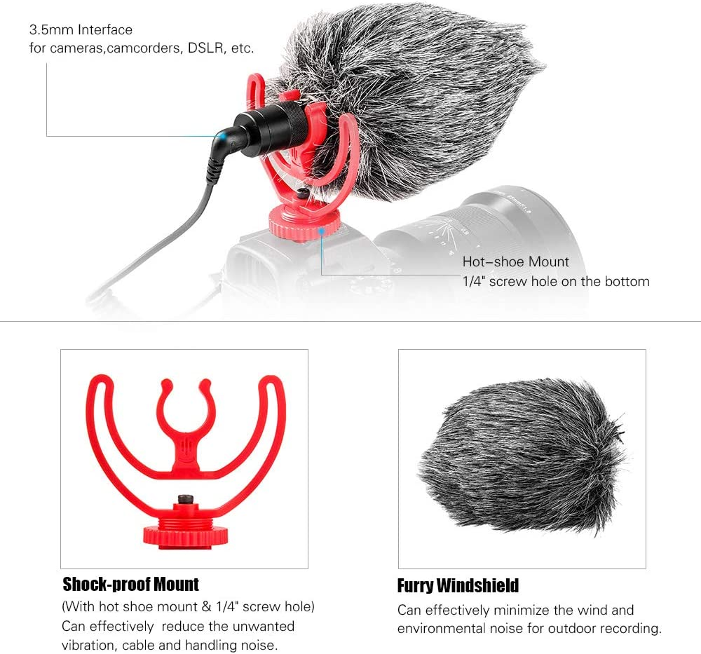 RuleaxA Mini Universal Cardioid On-Camera Microphone Mic with Hot Shoe Shock Mount 3.5mm TRS TRRS Connector Fur Windsheild for iPhone 6//6 Plus Huawei Xiaomi Samsung Tablet PC Canon Sony Nikon Camera