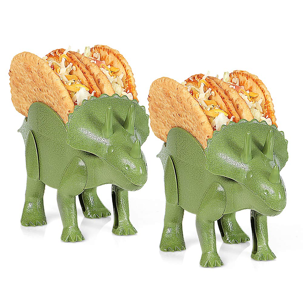 2-Pc Triceratops Taco Holder, Dinosaur Statue Taco Stands Shell Holder, Tricerataco Taco Holder, Dinosaur Taco Holder for Kids Hard Soft Taco Holders for Taco Twosday Birthday Party & Dino Taco Party