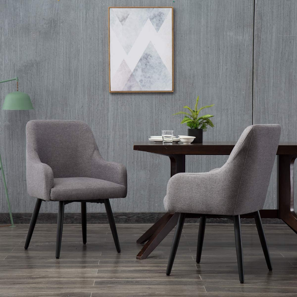 Swivel Dining Chairs Set of 8 Upholstered Living Room Chairs Office Desk  Arm Chair Gray
