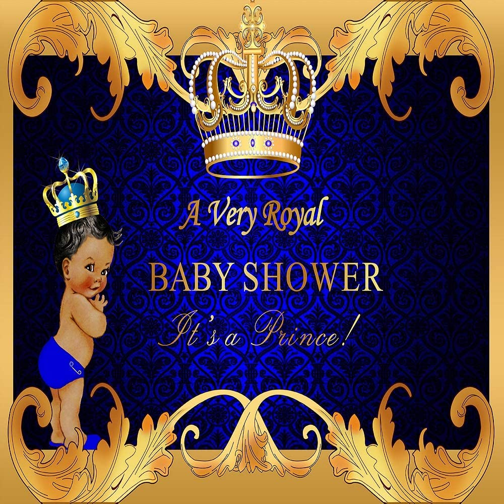 GYA 6x6ft Royal Prince Baby Shower Backdrop Black Boy Gold Crown Photography Background Party Supplies