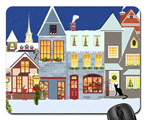 Christmas Village Houses.Amazon Com Mouse Pads Christmas Village Houses Snow Bell