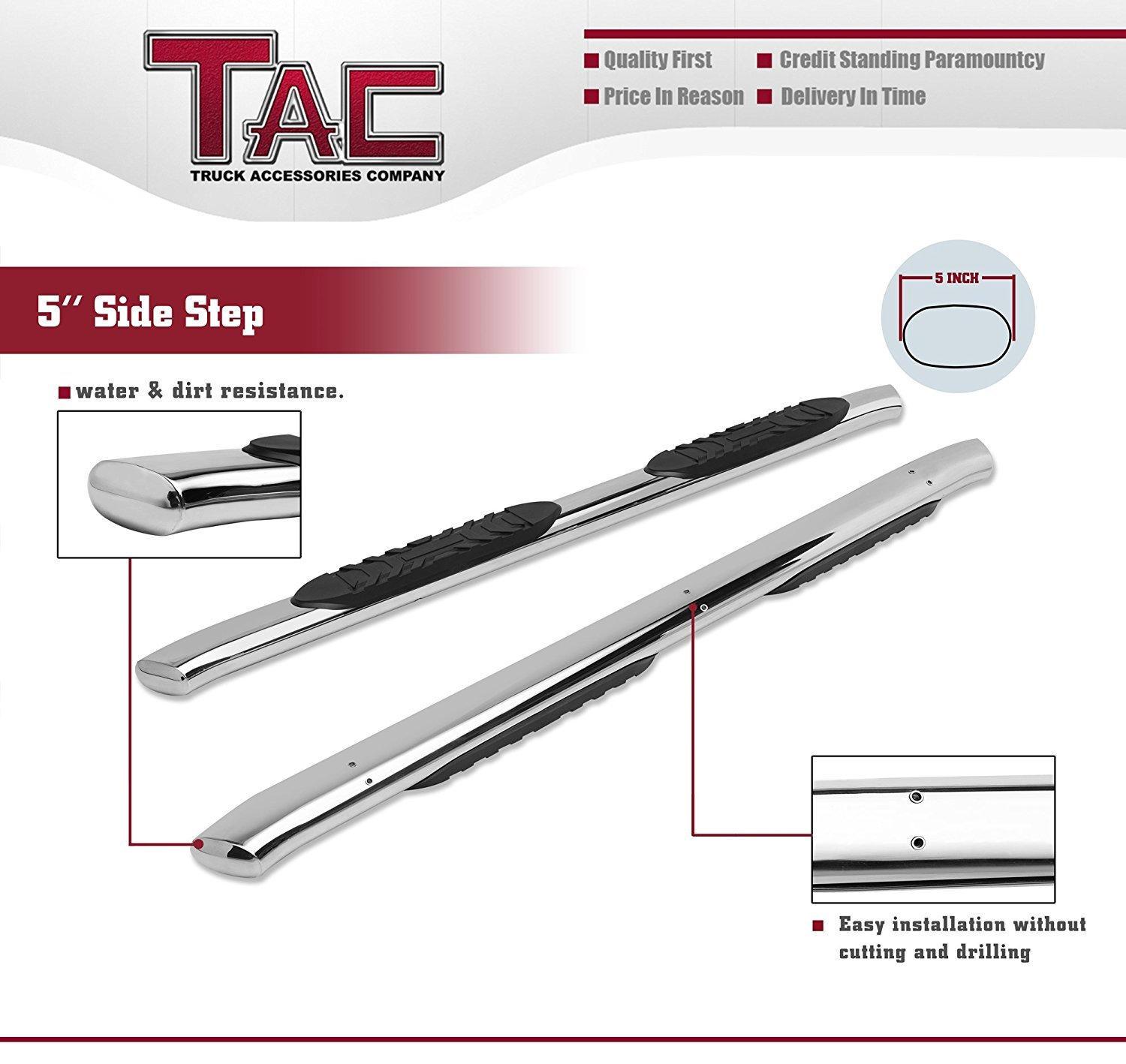 2 Pieces TAC Side Steps Running Boards Fit 2015-2019 Chevy Colorado Crew Cab//GMC Canyon Crew Cab Truck Pickup 5 Oval Bend T304 Stainless Steel Side Bars Step Rails Nerf Bars Off Road Accessories