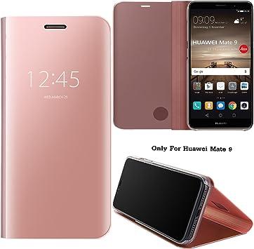 Guran® Mirror Efecto Espejo Funda para Huawei Mate 9 Clear View Función de Soporte Plegable Smartphone Funda Protectora (Oro Rosa): Amazon.es: Electrónica