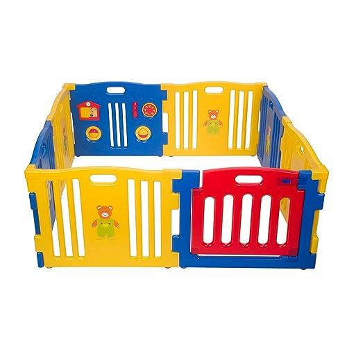 MCC parc pour bébé en plastique à 8 côtés avec panneau d'activités /d'éveil