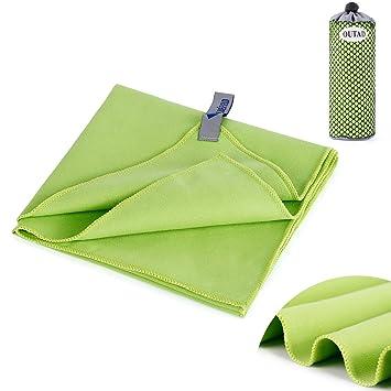 OUTAD Toallas de Microfibra lo que es Muy Absorbente y Secado Rapido Producto para Camping al Aire Libre (judías verdes): Amazon.es: Deportes y aire libre