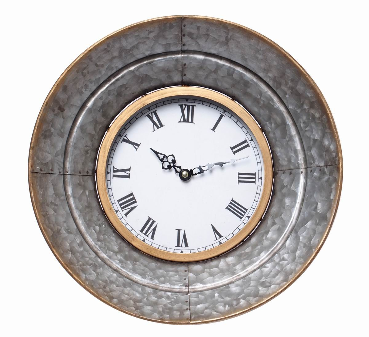 Hosley Metal Wall Clock- 13.3'' Diameter. Rustic Aged Galvanized Silver Finish. Country Farm House Style. Ideal Weddings, Special Occasions Wall Decor, Home, Spa, Aromatherapy, Reiki P2