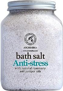 De-Stress Bath Salt 1300g - 100% Natural & Pure Salt Essential Oils Rosemary & Juniper - Best for Good Sleep - Relaxing - Calming - Body Care - Beauty - Aromatherapy - Stress Relief