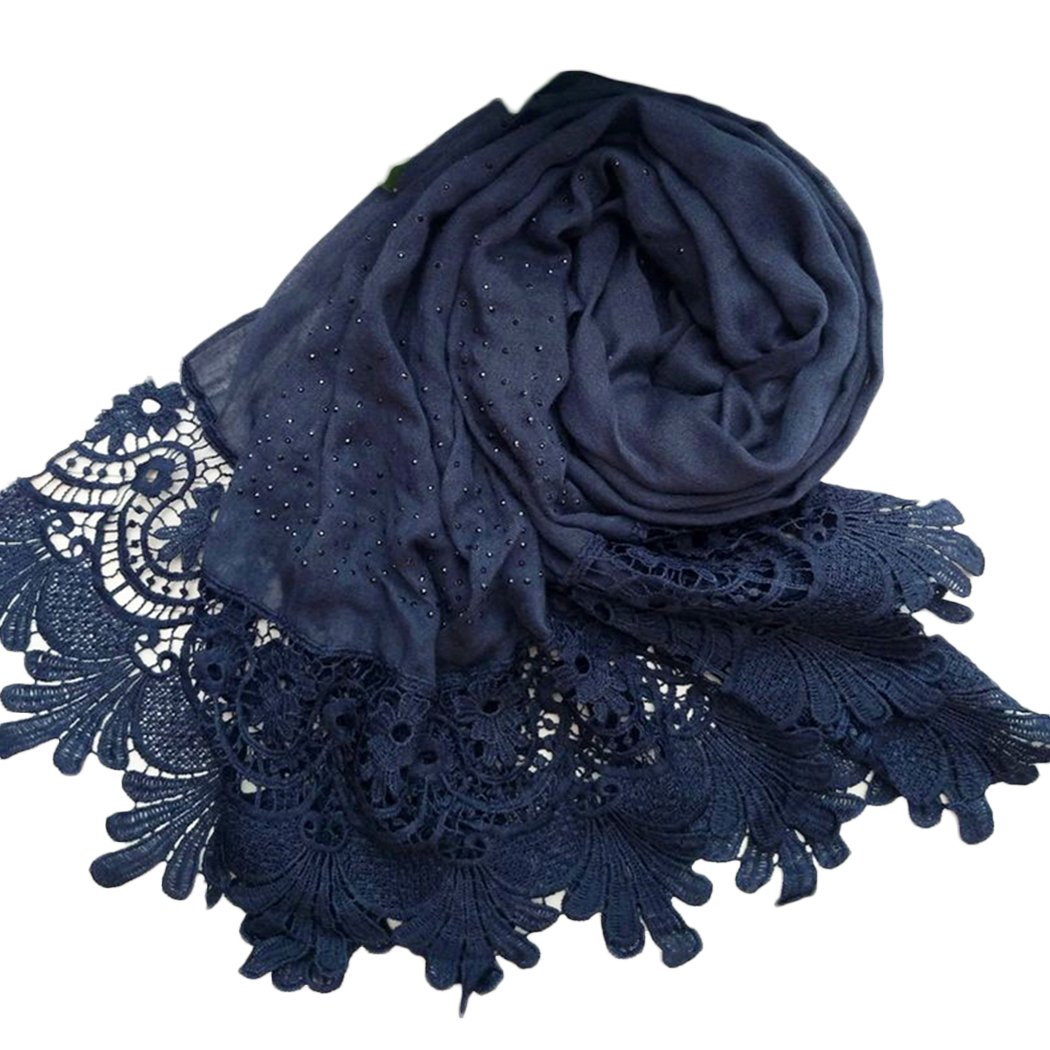 Raylans Women Lady Fashion Cotton Lace Long Scarf Warp Shawl,Navy Blue