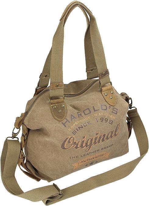 HAROLD'S Damen Handtasche im Vintage Look aus Canvas mit hochwertigem Echt Lederbesatz und Retro Print (4536)