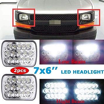 "For Chevy Express Cargo Van 1500 2500 3500 Truck 7/'/'x6/"" 6x7 LED Headlights Black"