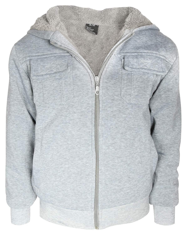 Quad Seven Boys Fleece Full-Zip Hooded Fashion Sweatshirt with Sherpa Lining